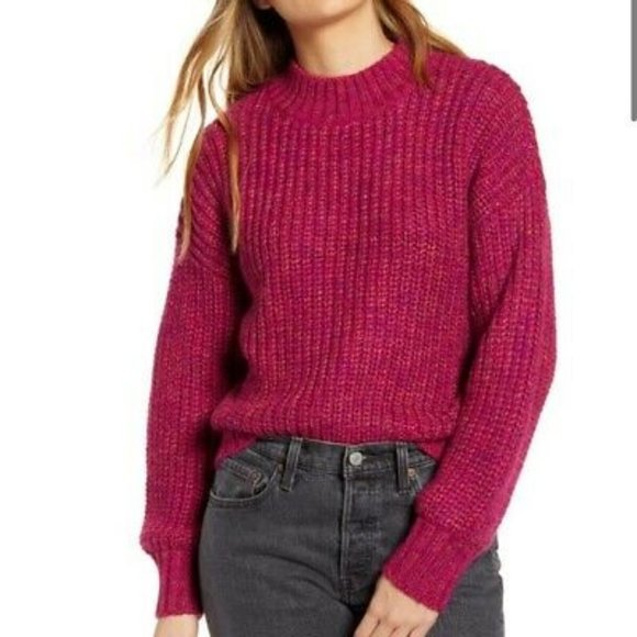 Band of Gypsies Mock Neck Sweater Glacee Ribbed
